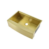 "Tourner 33"" x 22"" Stainless Steel, Single Basin, Farmhouse Kitchen Workstation Sink with Apron in Gold"