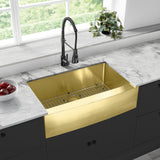 "Rivage 33"" x 21"" Stainless Steel, Single Basin, Farmhouse Kitchen Sink with Apron in Gold"