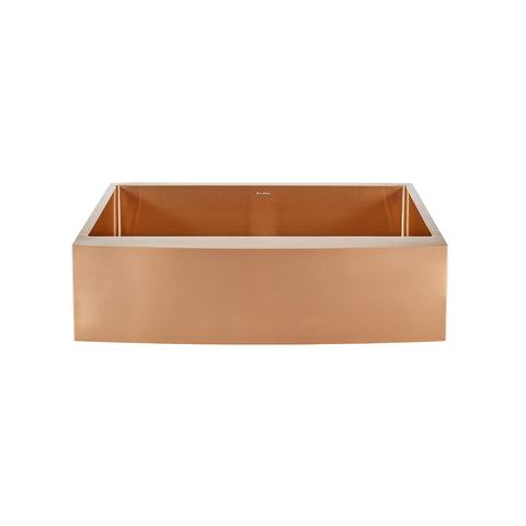 "Rivage 33"" x 21"" Stainless Steel, Single Basin, Farmhouse Kitchen Sink with Apron in Rose Gold"