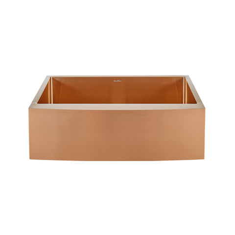 "Rivage 30"" x 21"" Stainless Steel, Single Basin, Farmhouse Kitchen Sink with Apron in Rose Gold"