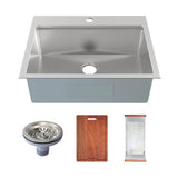 Ravi Single Basin 30 x 22 Topmount Kitchen Workstation Sink