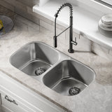 Toulouse 32 x 18 Stainless Steel, Dual Basin, Under-Mount Kitchen Sink