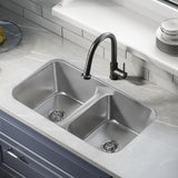 Toulouse 32 x 19 Low Divide Stainless Steel, Dual Basin, Under-Mount Kitchen Sink