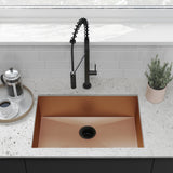 "Tourner 27"" x 19"" Stainless Steel, Single Basin, Undermount Kitchen Sink in Rose Gold"