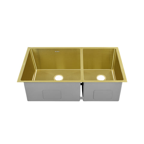 "Rivage 33"" x 20"" Dual Basin, Undermount Kitchen Sink in Gold"