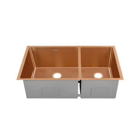"Rivage 33"" x 20"" Dual Basin, Undermount Kitchen Sink in Rose Gold"