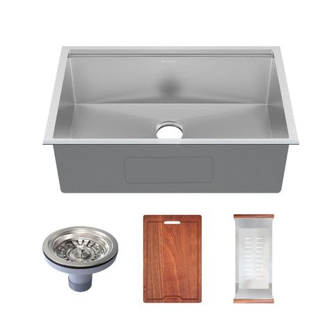 Rivage 32 x 19 Single Basin Undermount Kitchen Workstation Sink