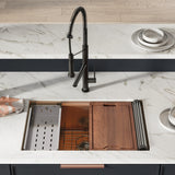 "Tourner 30"" x 19"" Stainless Steel, Single Basin, Undermount Kitchen Workstation Sink in Rose Gold"
