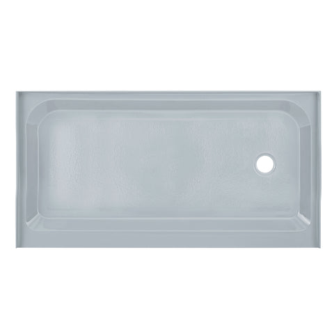 Voltaire 60 x 32 Single-Threshold, Right-Hand Drain, Shower Base in Grey