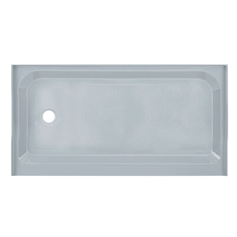 Voltaire 60 x 32 Single-Threshold, Left-Hand Drain, Shower Base in Grey