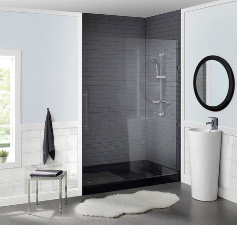 "Voltaire 60"" x 36"" Acrylic Black, Single-Threshold, Left Drain, Shower Base"