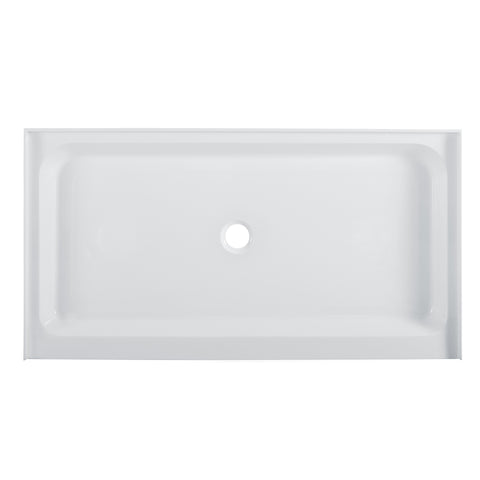 "Voltaire 60"" x 34"" Acrylic White, Single-Threshold, Center Drain, Shower Base"