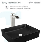 Concorde Rectangle Ceramic Vessel Sink, Matte Black