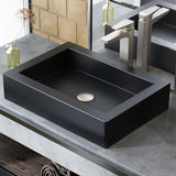 Voltaire Ceramic Rectangle Vessel Sink, Matte Black