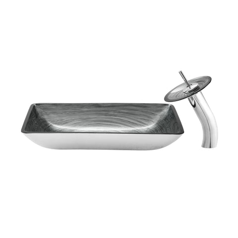 Cascade Rectangular Glass Vessel Sink with Faucet, Smoky Grey