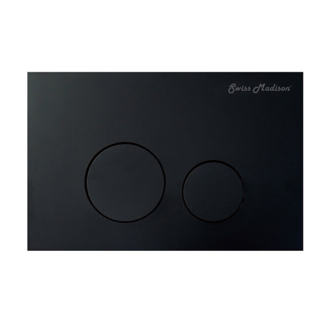 Wall Mount Actuator Flush Push Button Plate with Round Buttons in Matte Black