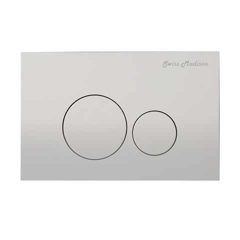 Wall Mount Actuator Flush Push Button Plate with Round Buttons in Matte Chrome