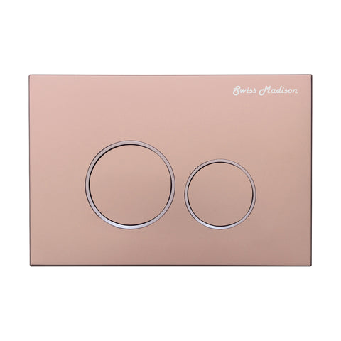 Wall Mount Actuator Flush Push Button Plate with Round Buttons in Rose Gold