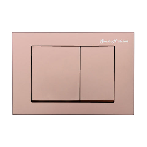 Wall Mount Actuator Flush Push Button Plate with Square Buttons in Rose Gold