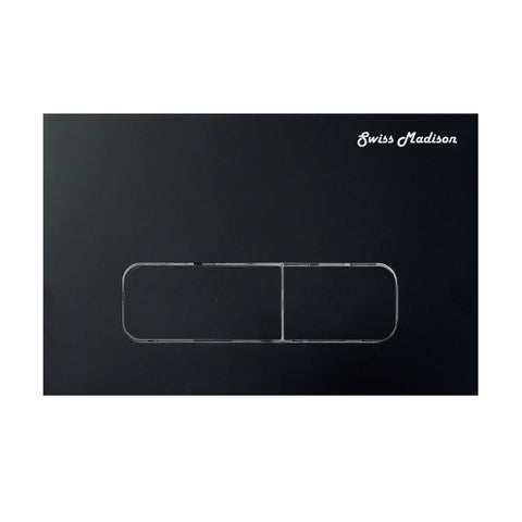 Wall Mount Dual Flush Actuator Plate with Rectangle Push Buttons in Matte Black