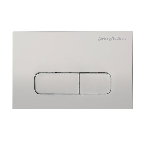 Wall Mount Dual Flush Actuator Plate with Rectangle Push Buttons in Matte Chrome