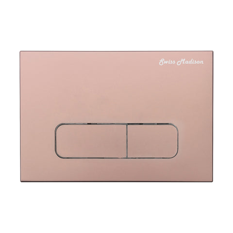 Wall Mount Dual Flush Actuator Plate with Rectangle Push Buttons in Rose Gold