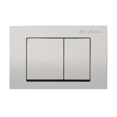 Wall Mount Actuator Flush Push Button Plate with Square Buttons in Matte Chrome