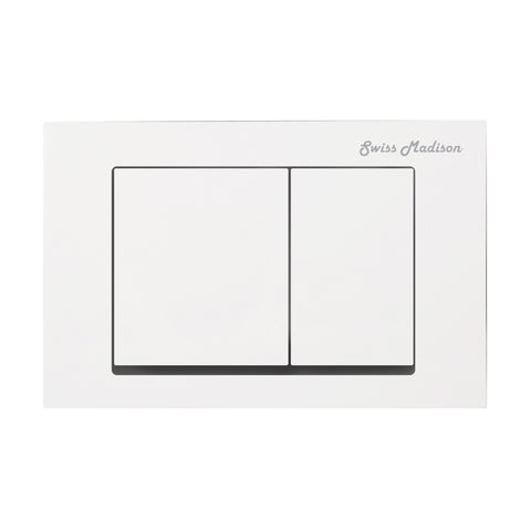 Wall Mount Actuator Flush Push Button Plate with Square Buttons in White