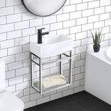 Pierre 19.5 Single, Open Shelf, Chrome Metal Frame Bathroom Vanity