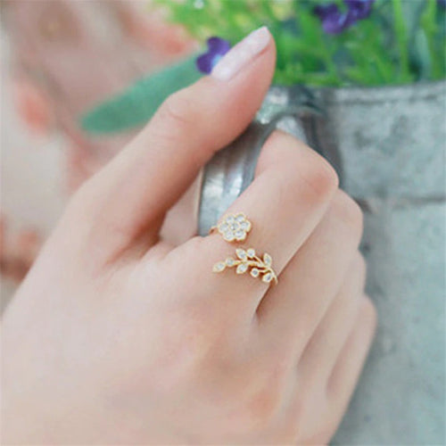Rose Gold Floral Ring - Open End Leafy Ring