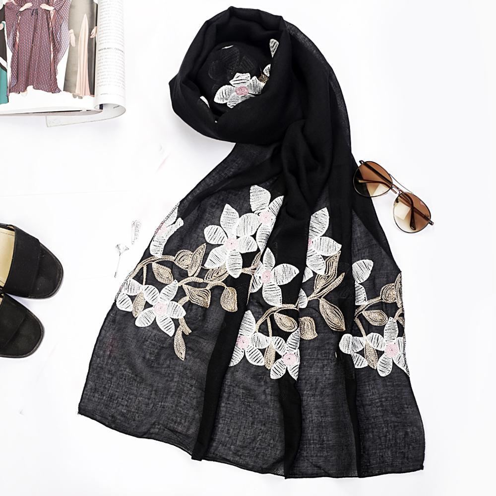 Black Floral Embroidered Hijab
