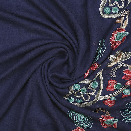 Blue Embroidery Floral Hijab