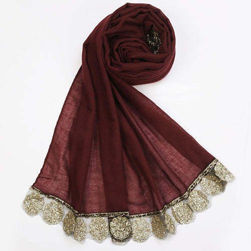 Glittery Wine Golden Border Hijab