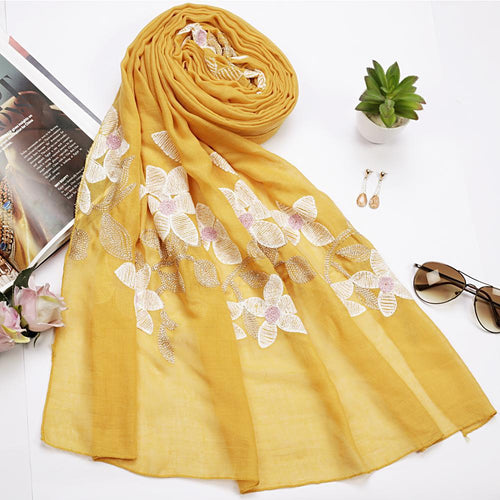 Yellow Floral Embroidered Hijab