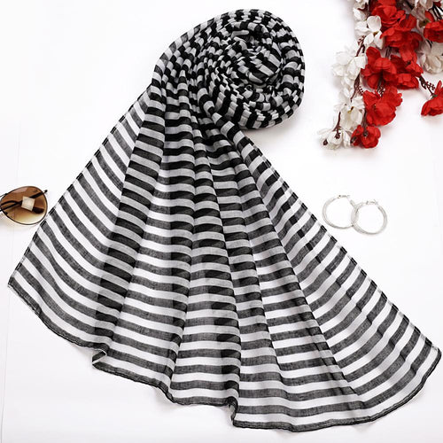 Black and White Striped Hijab