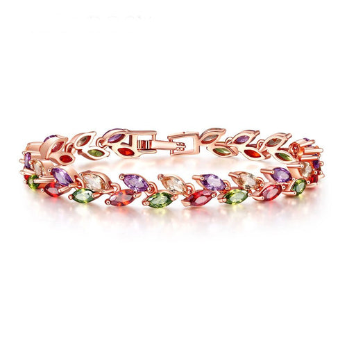 Gold Color Leaf Colourful Crystal Bracelet