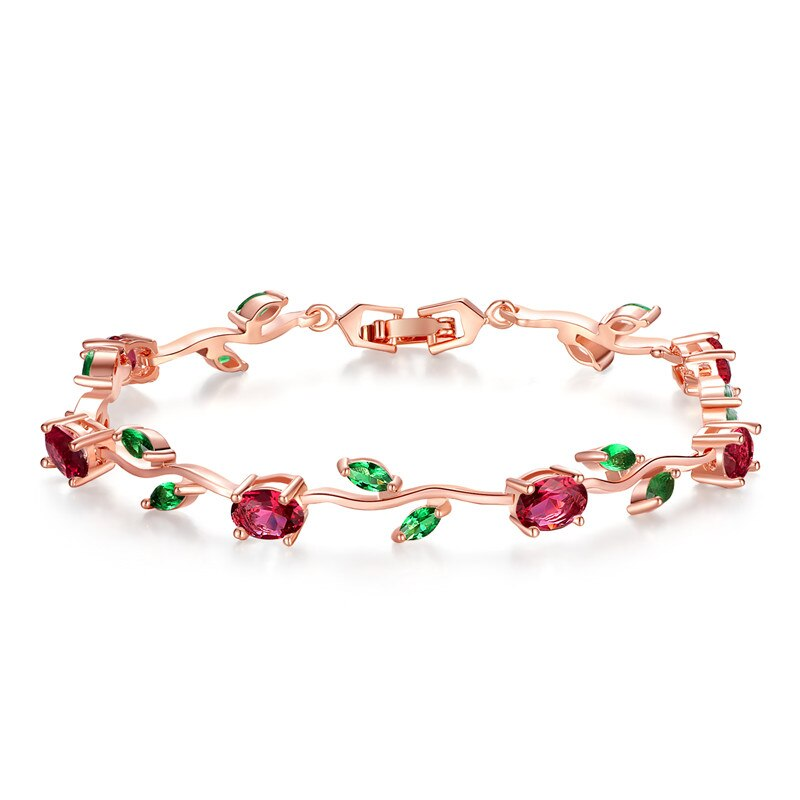 Rose Gold Color Leaf Chain & Link Bracelet with Red + Green Zircon for Mother Gifts Jewelry