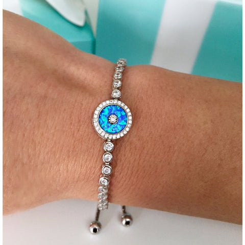 evil eye bracelet adjustable Cubic Zirconia in Sterling Silver or 18k Gold