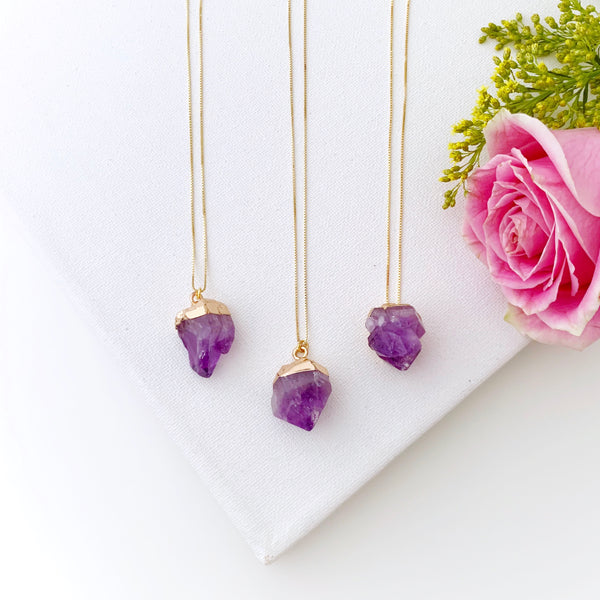 Raw Amethyst Gold Necklace - Vibe Jewelry