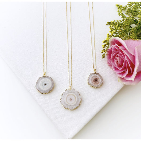 White Druzy Gold Necklace - Vibe Jewelry