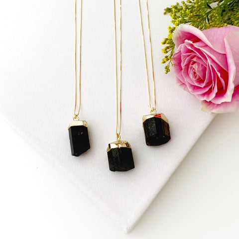 Raw Tourmaline Gold Necklace - Vibe Jewelry