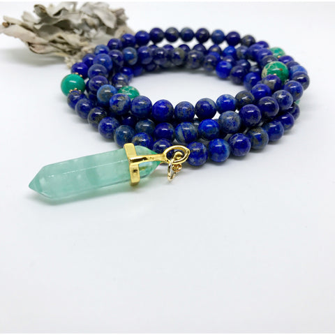 blue lapis mala beads necklace yoga necklace meditation beads