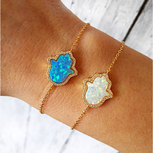 Hamsa Bracelet | Adjustable Opal Hamsa Bracelet in Sterling silver plated with 18K Gold | Good Luck Bracelet - Vibe Jewelry