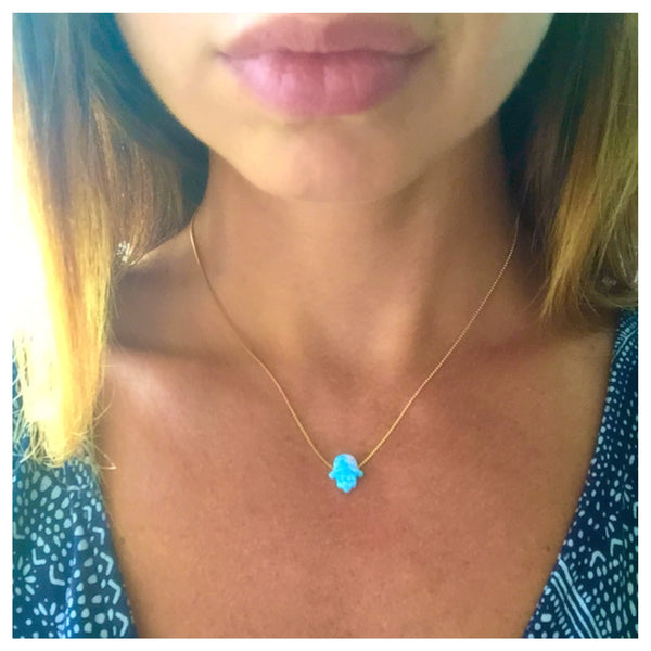 Hamsa Necklace | Opal Hamsa Necklace in Sterling silver plated with 18K Gold or 18K Rose Gold | Good Luck Charm Necklace - Vibe Jewelry