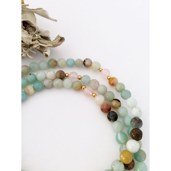 Amazonite Mala Necklace for Love and Courage | Mala Beads | Healing Crystals - Vibe Jewelry