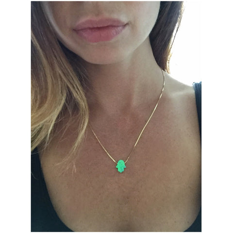 Opal Hamsa Necklace - Vibe Jewelry