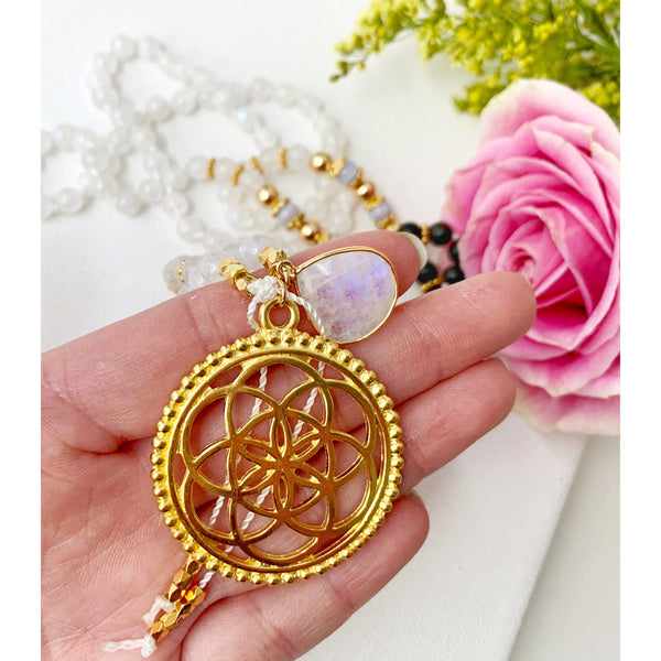 Flower of Life Moonstone Mala Necklace - Vibe Jewelry