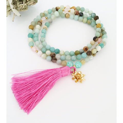 Amazonite Mala Necklace for Love and Courage - Vibe Jewelry