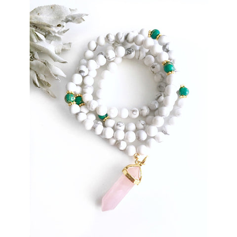 howlite healing mala beads with green jasper