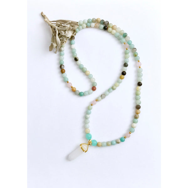 Amazonite Mala Necklace for Balance | Mala Beads | Amazonite Beaded Necklace - Vibe Jewelry